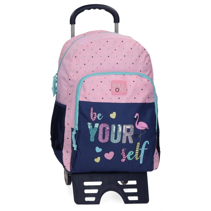 Mochila escolar 44cm con carro Roll Road Be yourself
