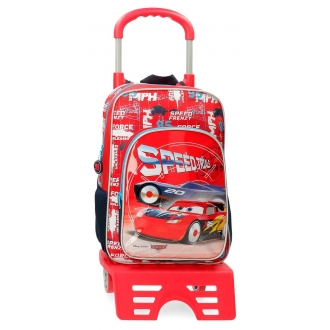 Mochila Escolar Cars Speed Trails 38cm con Carro