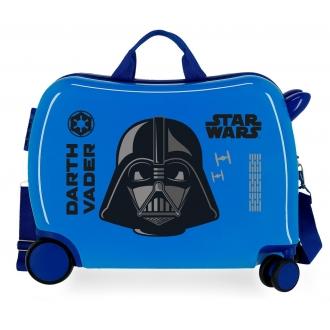 Maleta infantil 2 ruedas multidireccionales Star Wars Darth Vaider azul