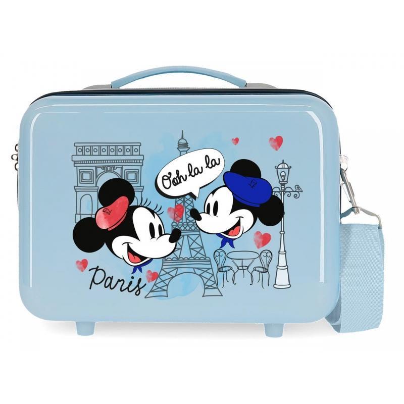 Neceser ABS Let´s Travel Mickey & Minnie Paris Adaptable Azul claro