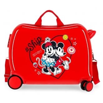 Maleta infantil 2 ruedas multidireccionales Mickey & Minnie Ship Always Be Kind Rojo