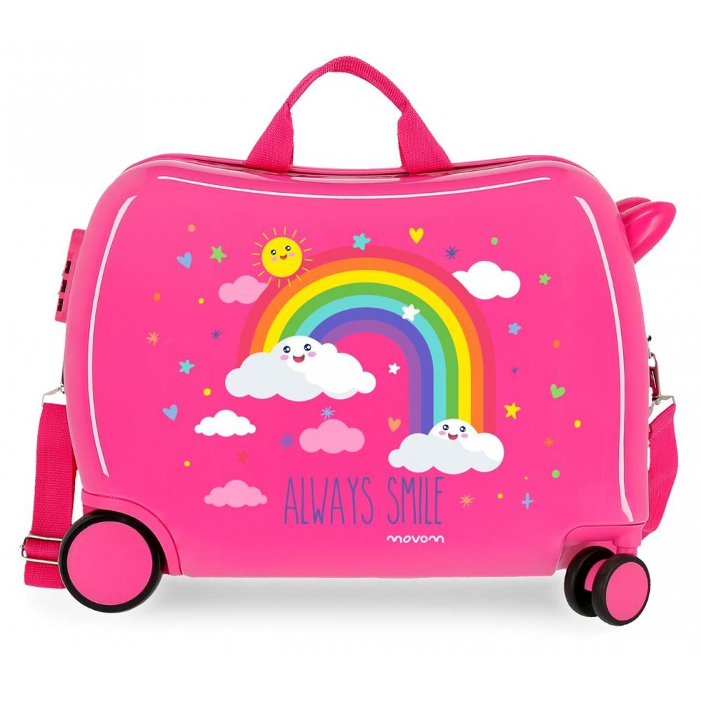 Maleta Infantil Movom Arcoiris Always Smile con 2 ruedas multidireccionales Fucsia