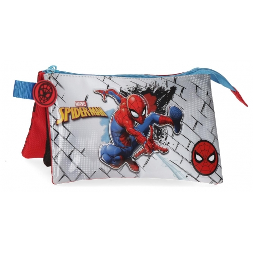Estuche Spiderman Red Tres Compartimentos
