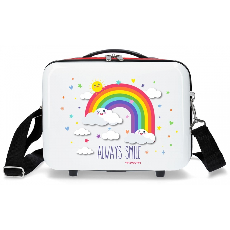 Neceser ABS Movom Arcoiris Always Smile adaptable a trolley Blanco