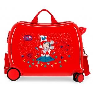 Maleta Infantil Mickey On the Moon 2 ruedas multidireccionales Rojo