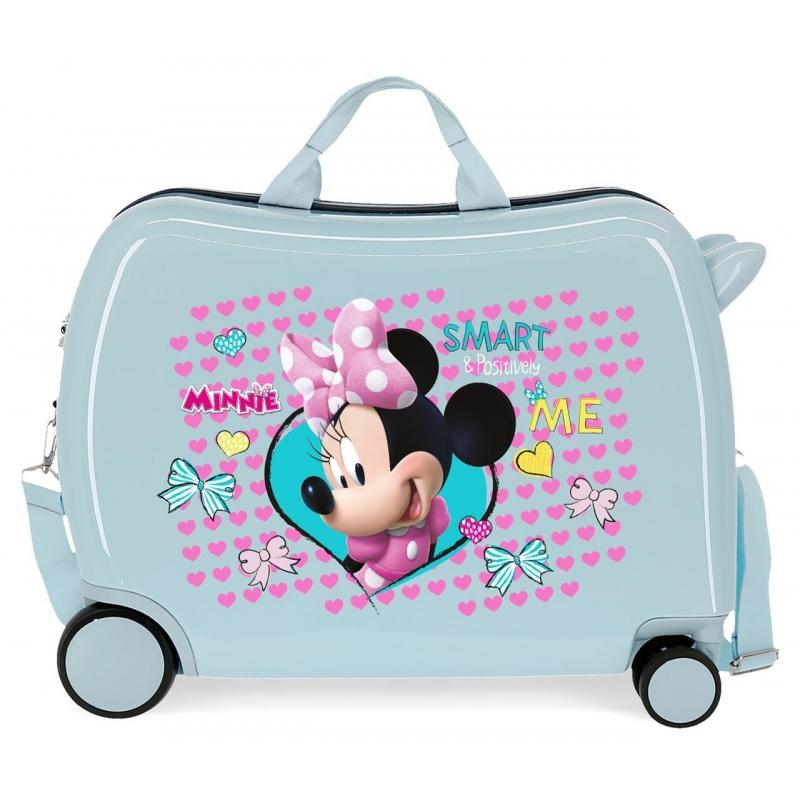 Maleta infantil 2 ruedas multidireccionales Minnie Happy Helpers Azul claro