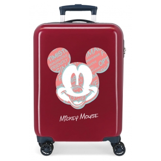 Maleta de cabina Mickey Always Be Kind rígida 55cm Granate