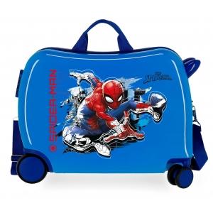 Maleta infantil 2 ruedas multidireccionales Spiderman Geo azul