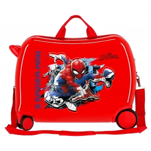Maleta infantil 2 ruedas multidireccionales Spiderman Geo roja