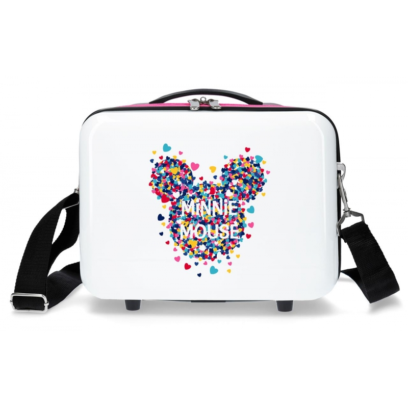 Neceser ABS Minnie Magic corazones adaptable a trolley fucsia