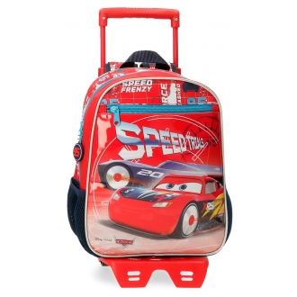 Mochila Infantil Cars Speed Trails 28cm con Carro