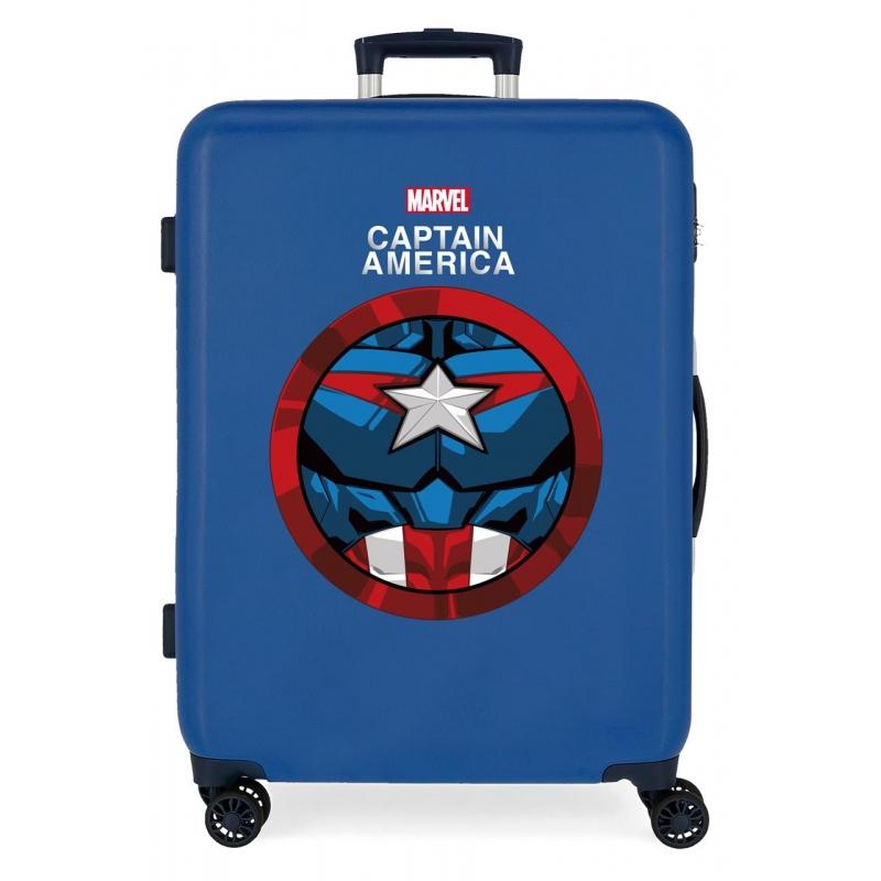 Maleta Mediana Avengers Captain America rígida 68cm Azul