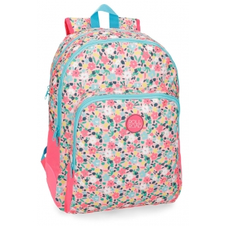 Mochila escolar Roll Road Pretty Coral doble compartimento 44cm