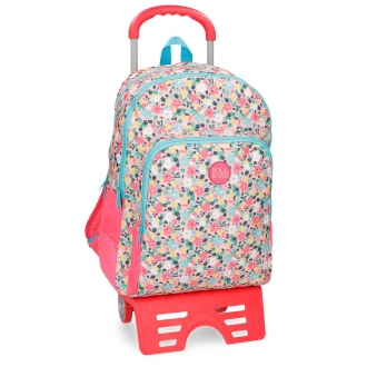 Mochila escolar Roll Road Pretty Coral doble compartimento 44cm con carro