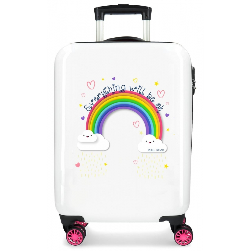 Maleta de cabina Roll Road Arcoiris Everything OK rígida 55cm Blanco