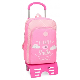 Mochila escolar Roll Road Happy Rosa 42cm con carro