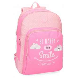 Mochila escolar Roll Road Happy Rosa doble compartimento 44cm