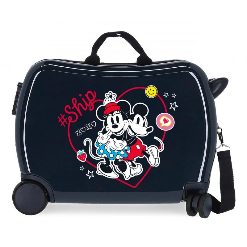 Maleta infantil 2 ruedas multidireccionales Mickey & Minnie Ship Always Be Kind Marino
