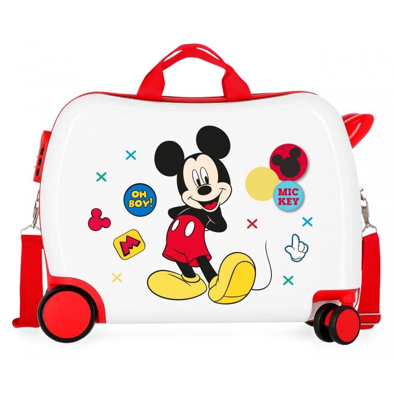 Maleta infantil 2 ruedas multidireccionales Mickey Enjoy the Day Oh Boy Blanca