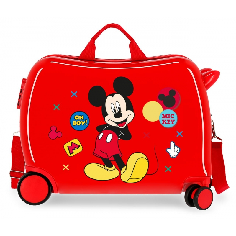 Maleta infantil 2 ruedas multidireccionales Mickey Enjoy the Day Oh Boy Roja