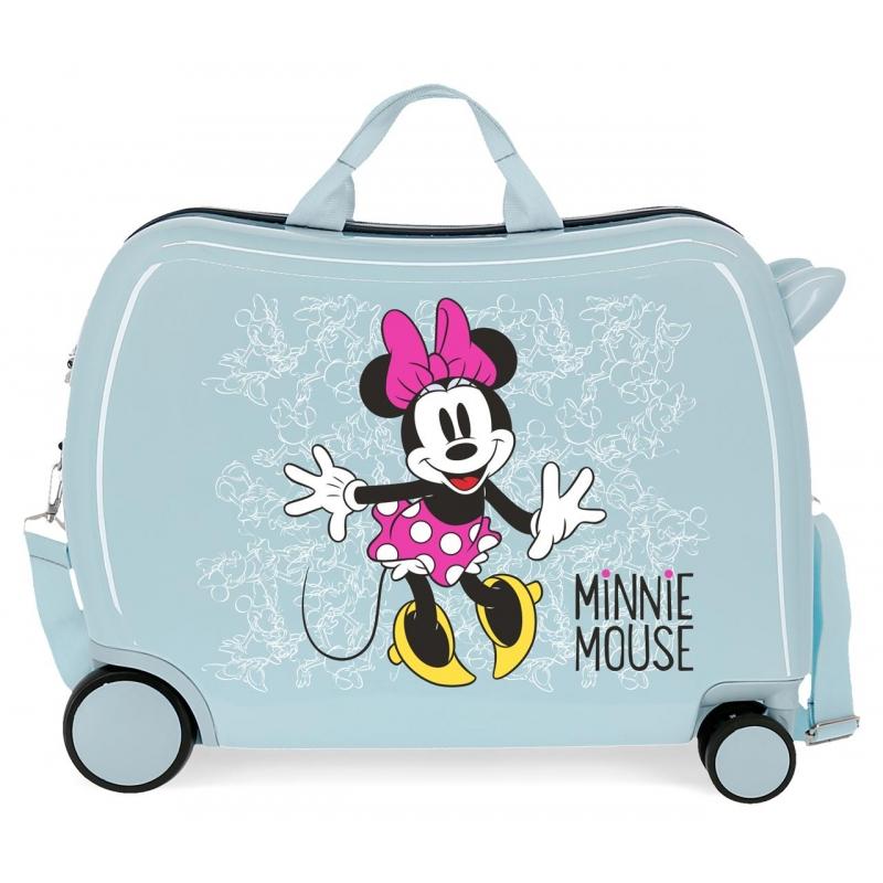 Maleta infantil 2 ruedas multidireccionales Minnie Enjoy the Day Azul