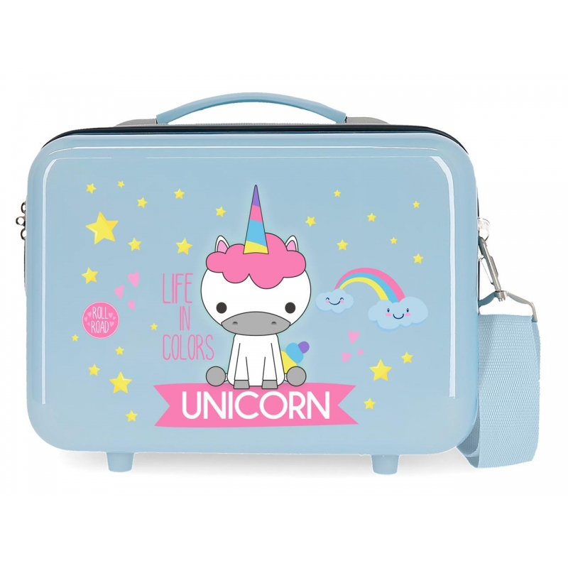 Neceser ABS Roll Road Little Me Unicorn Azul Claro