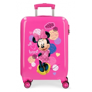 Maleta de cabina rígida Enjoy Minnie Heart Rosa
