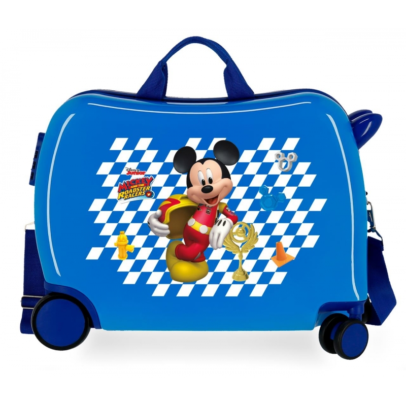Maleta infantil 2 ruedas multidireccionales Mickey Good Mood azul