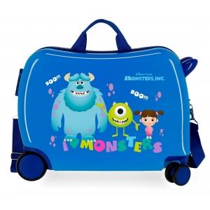 Maleta infantil 2 ruedas multidireccionales Monsters Boo! Azul