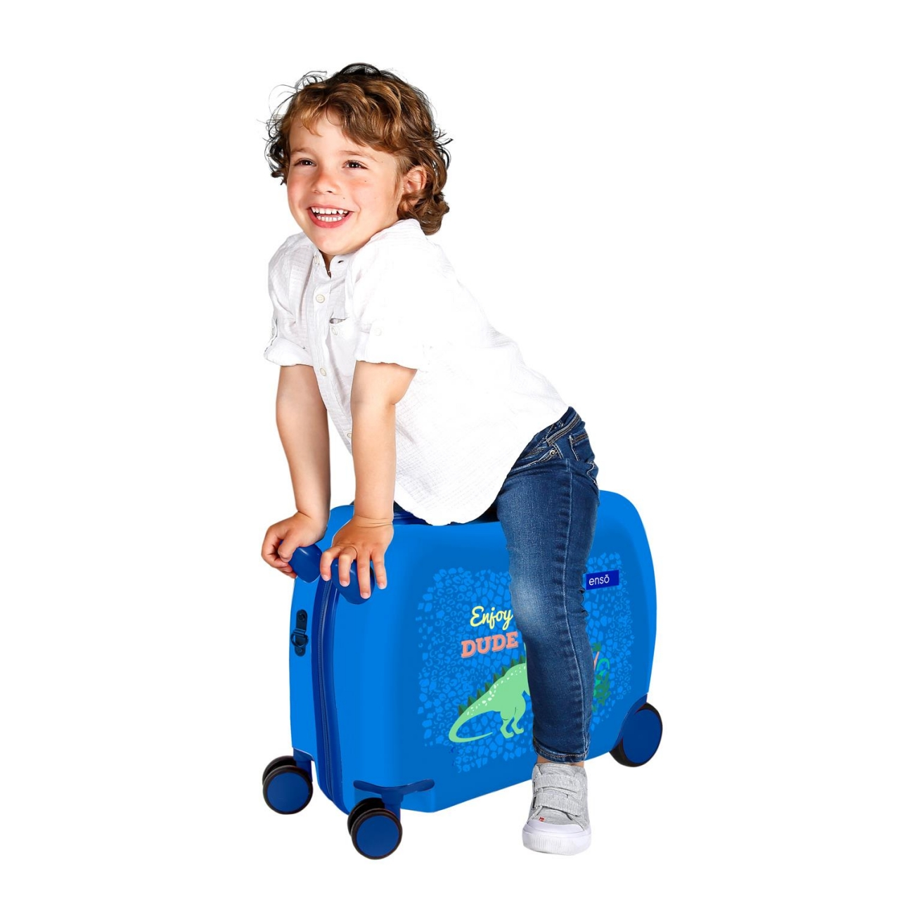 Maleta infantil 2 ruedas multidireccionales Enso Dino