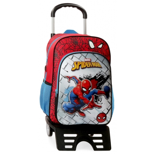 Mochila 38 cm Spiderman Red con Carro