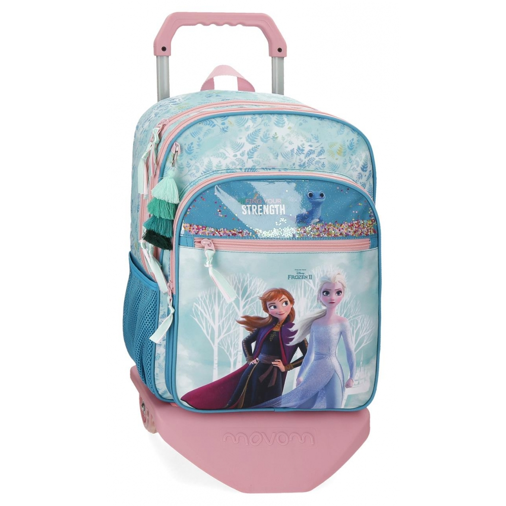 Mochila Escolar Frozen Find Your Strenght 42cm con Carro