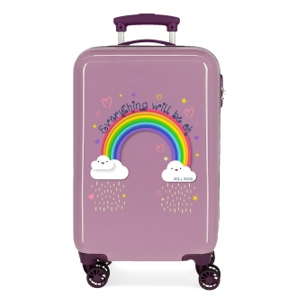 Maleta de cabina Roll Road Arcoiris Everything OK rígida 55cm Morado