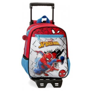Mochila 28cm con carro Spiderman Red
