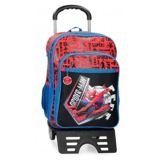 Mochila Escolar Spiderman Great Power 42cm Dos compartimentos con carro