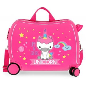 Maleta infantil 2 ruedas multidireccionales Little Me Unicorn Rosa