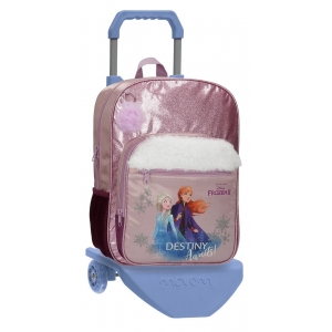 Mochila Frozen Destiny Awaits escolar 38cm con carro