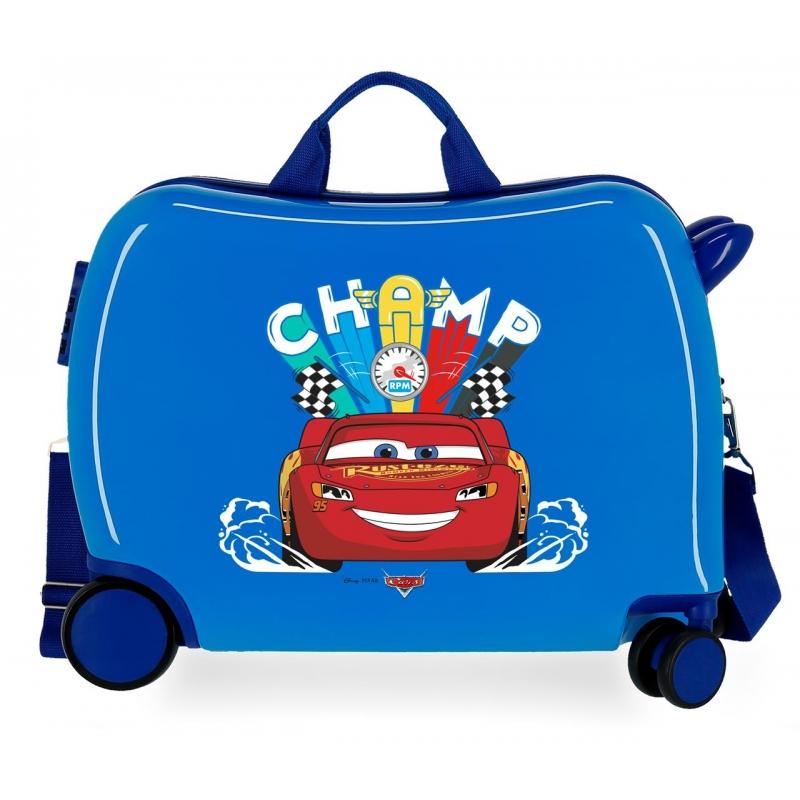 Maleta infantil 2 ruedas multidireccionales Cars Champ Azul