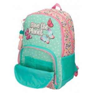 Mochila Escolar Movom Save the Planet Dos Compartimentos con Carro
