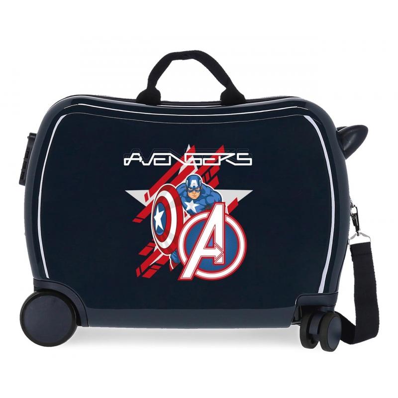 Maleta infantil 2 ruedas multidireccionales Avengers Escudo All Avengers Marino