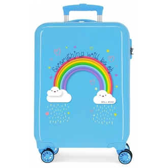 Maleta de cabina Roll Road Arcoiris Everything OK rígida 55cm Azul