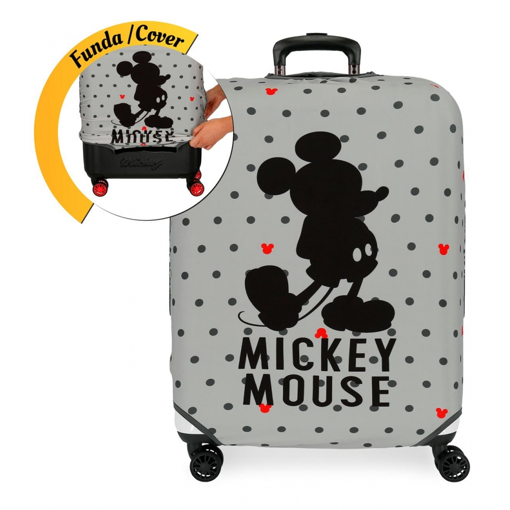 Funda para maleta mediana Mickey gris