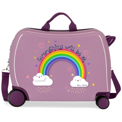 Maleta infantil  Arcoiris Everything ok con ruedas multidireccionales