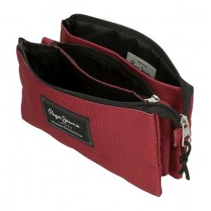 Estuche tres compartimentos Pepe Jeans Aris Evergreen Rojo Oscuro